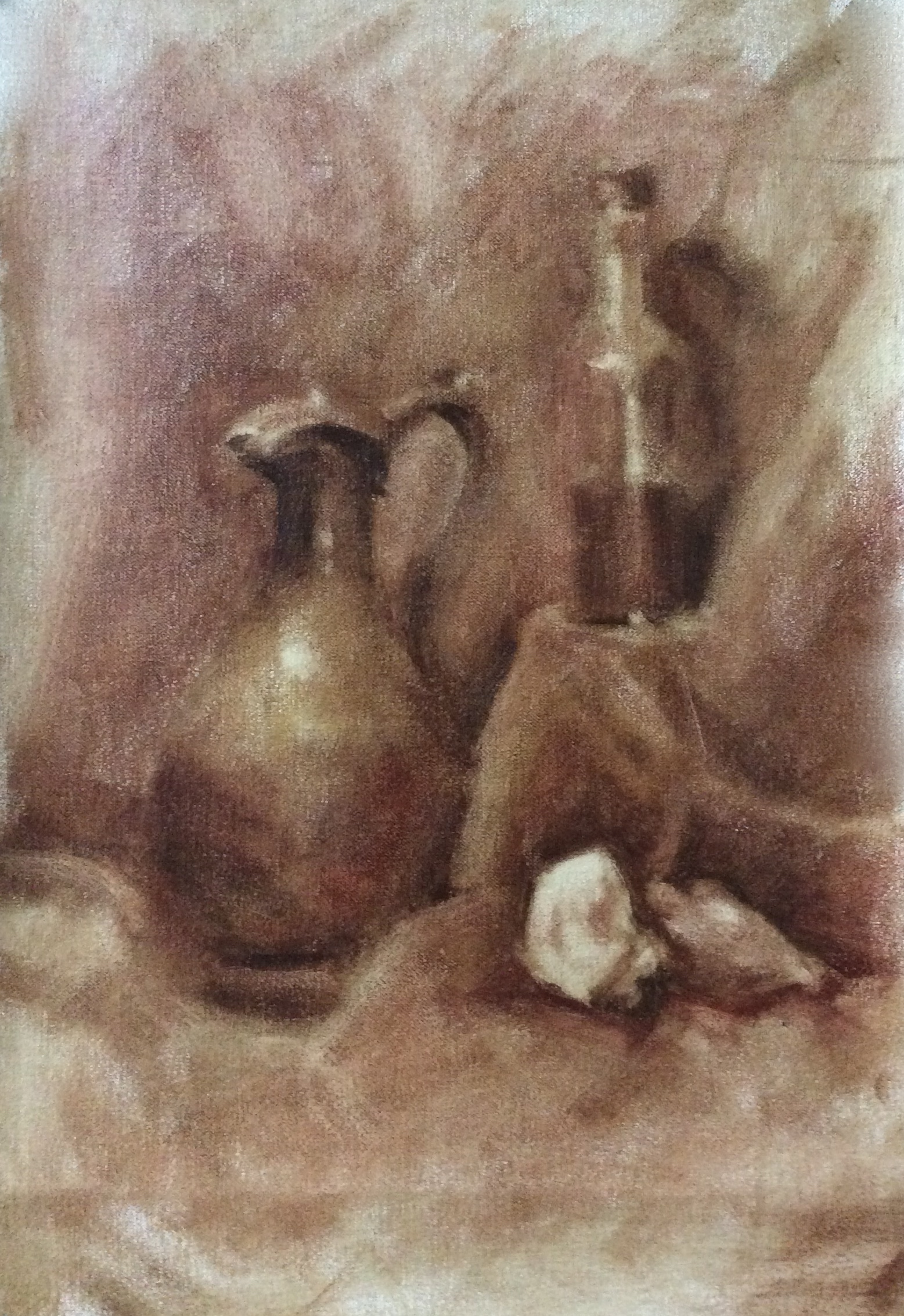 Untitled Still Life III   Sepia grisaille on linen