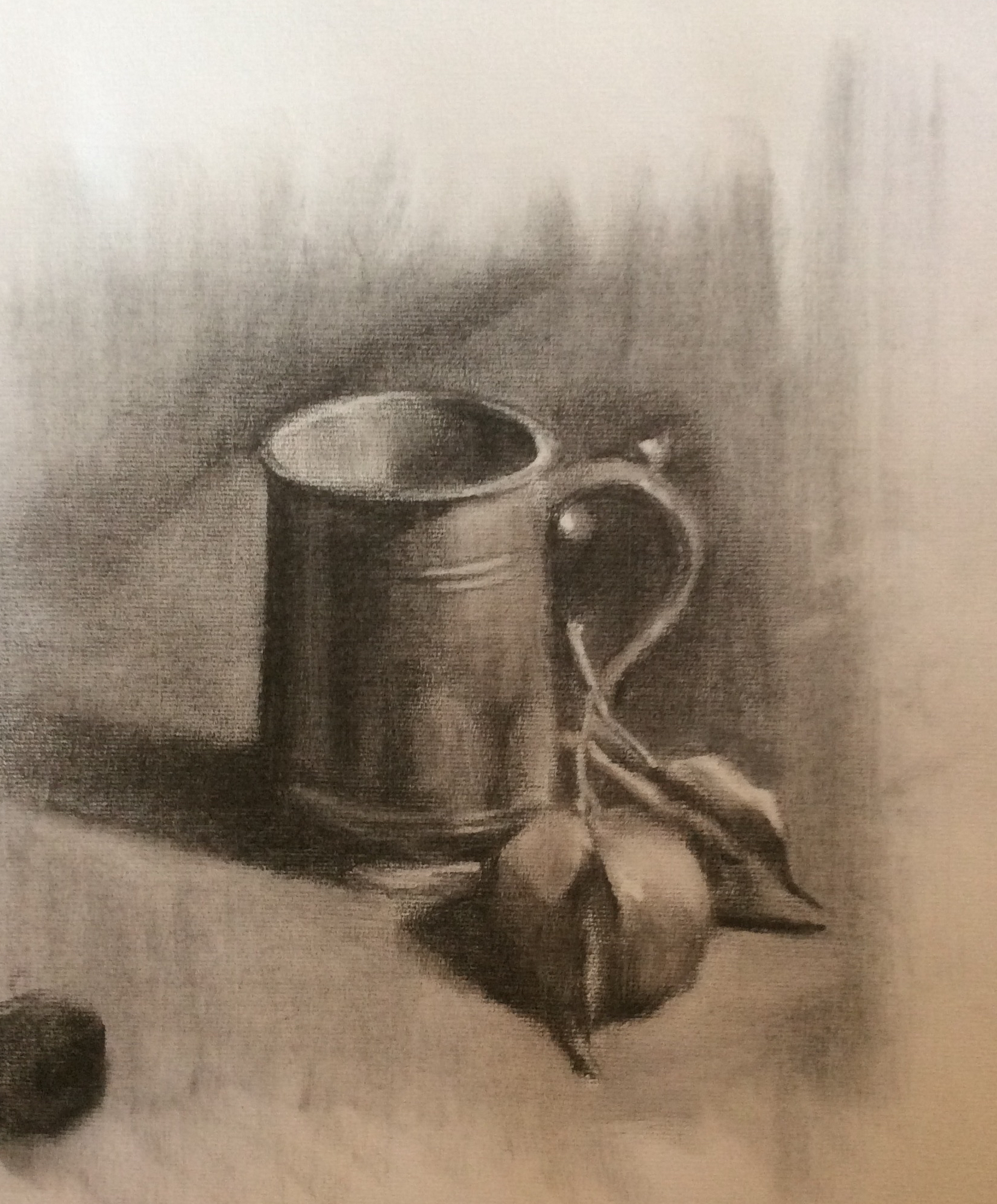 Still Life with Mug   Charcoal on toned paper