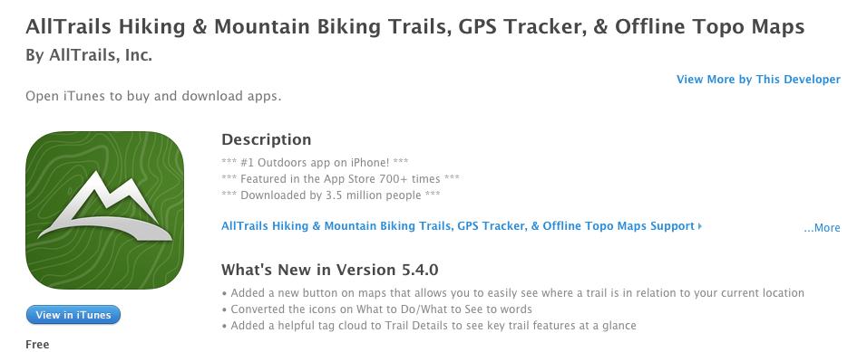 alltrails hiking map app
