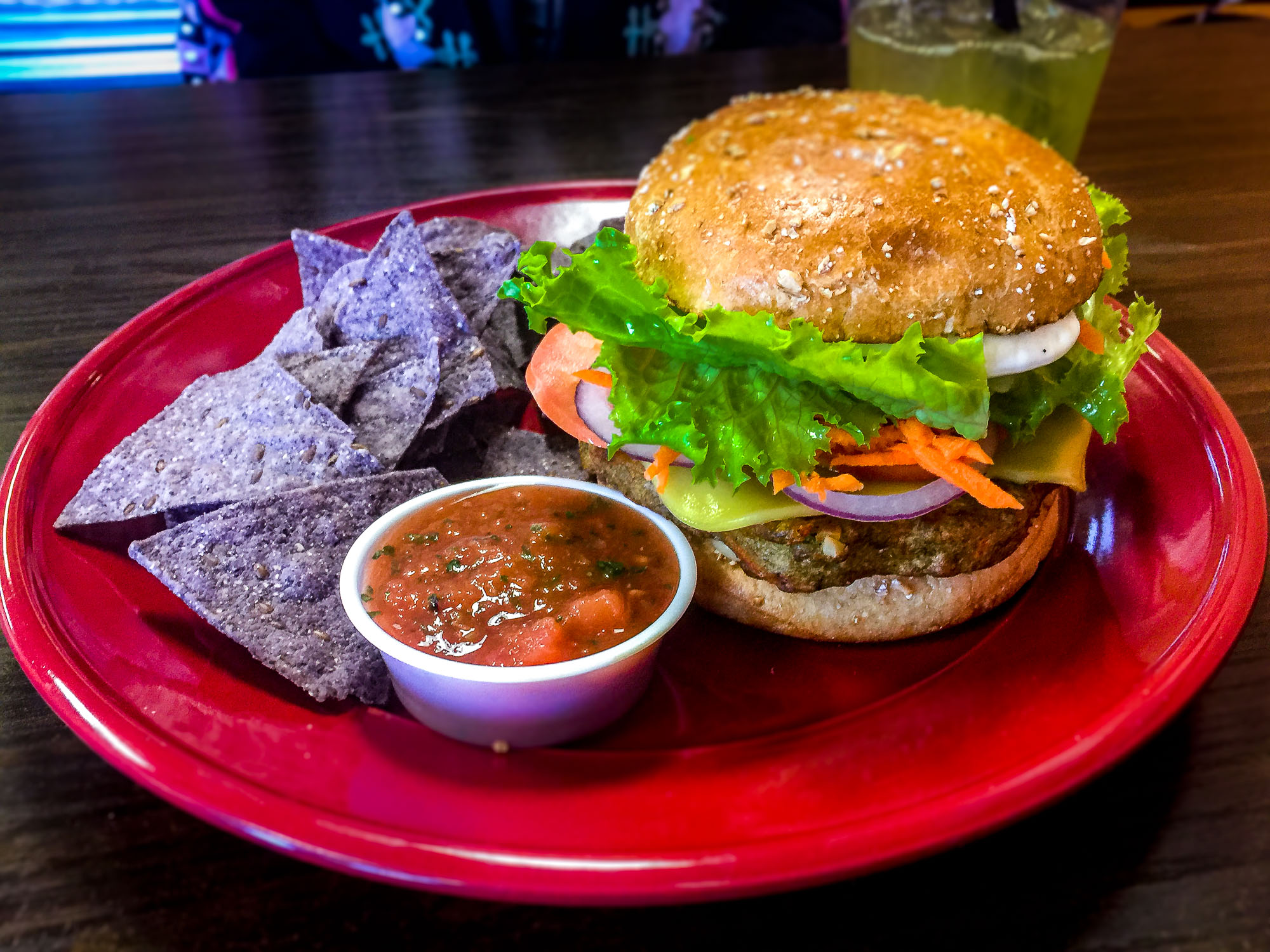 Veggie Burger with Chips and Salsa.