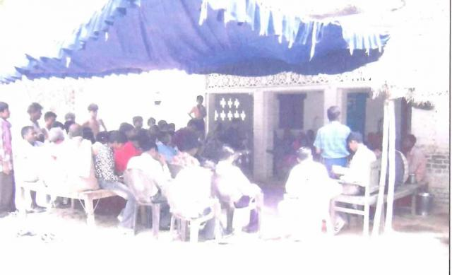 Congregation outside of church