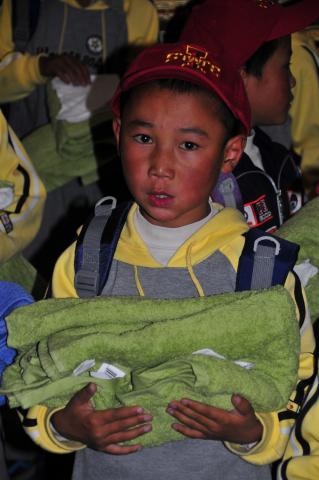 Each child receives a hygiene bundle with towel, washcloth & toothbrush