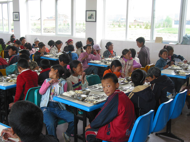 Inside cafeteria at lunch time