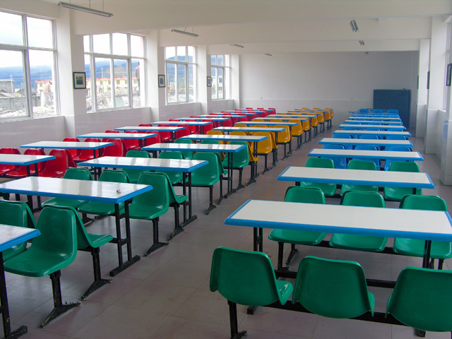 New cafeteria with new tables and chairs purchased by SCF