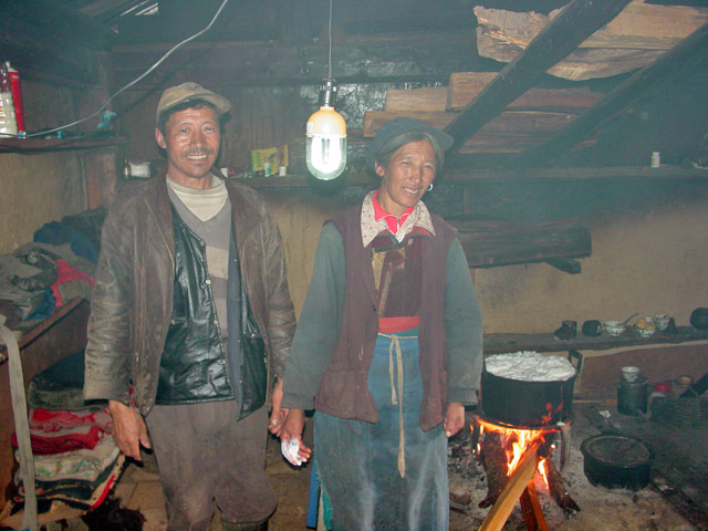 Yak herders using solar electricity for light