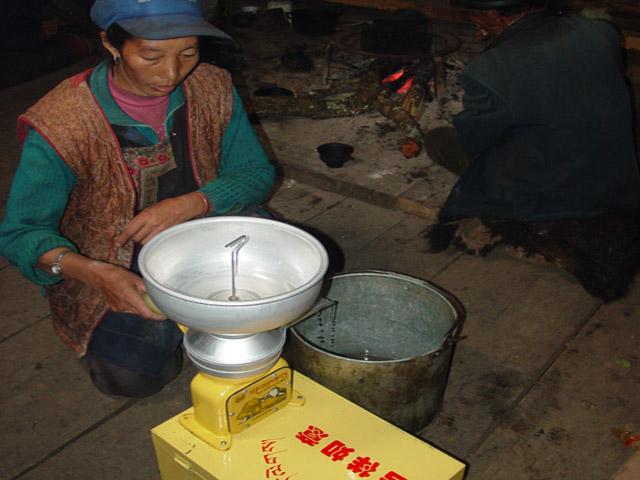 Solar generated Yak butter churner