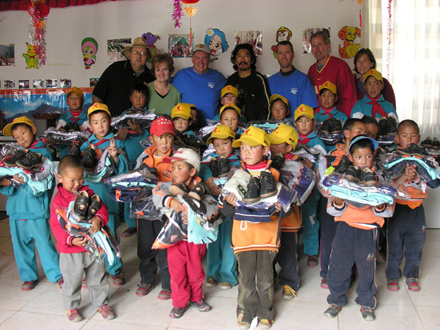Children at Tibet orphanage after getting clothes