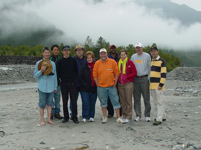 Group picture after night spent on bus because of landslide
