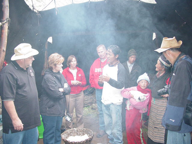 Visiting with nomadic yak herder family