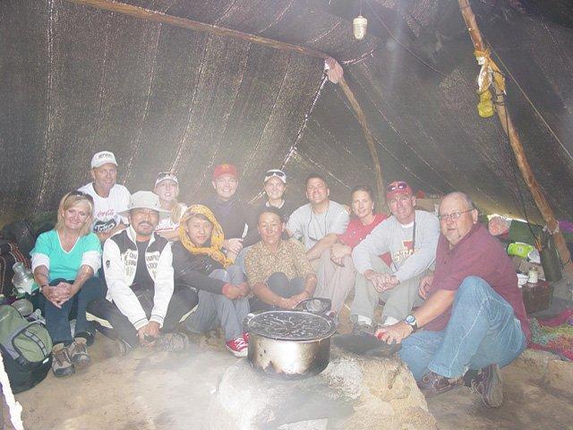 Group in Nomadic yak herders home (tent)
