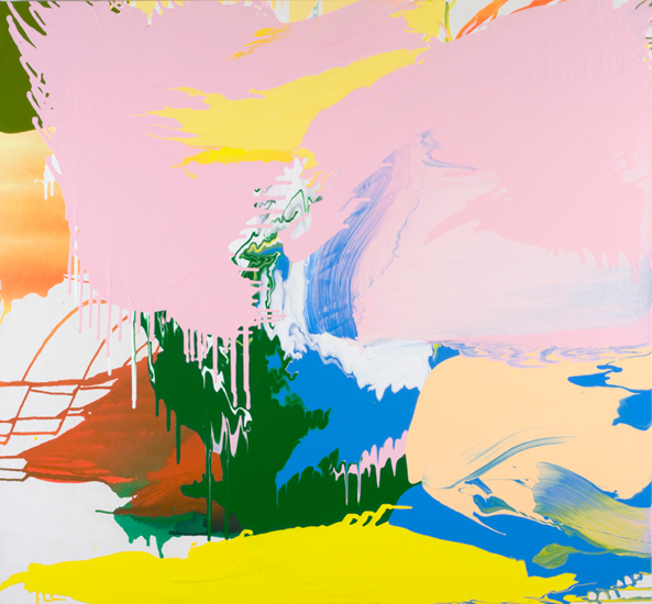 "coronal loop 2009  acrylic on canvas 47 "" x 51"""