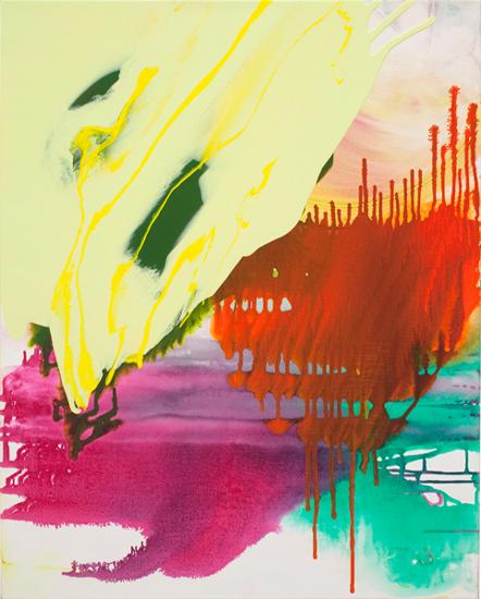 "streaming 2009 acrylic on linen  30 "" x 24 """