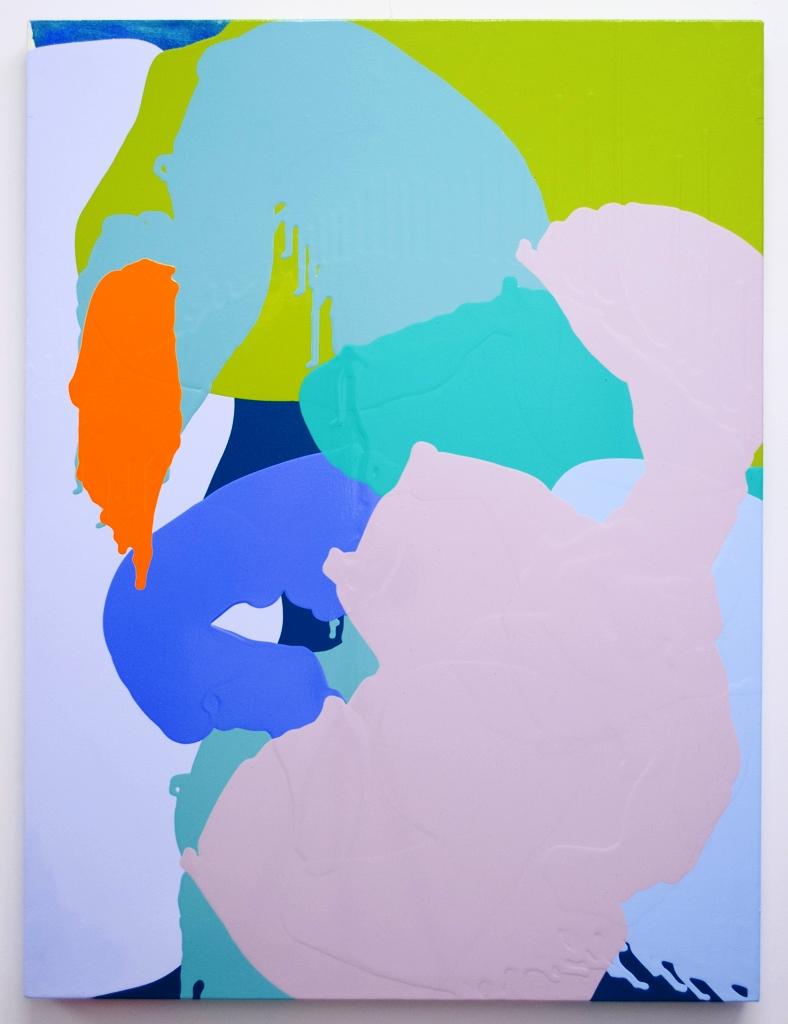 "Orange Splat, 2016 40""  x 30"" acrylic and pouring mediums on canvas"