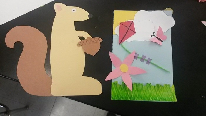 Volunteers at Newfield High School made spring cards
