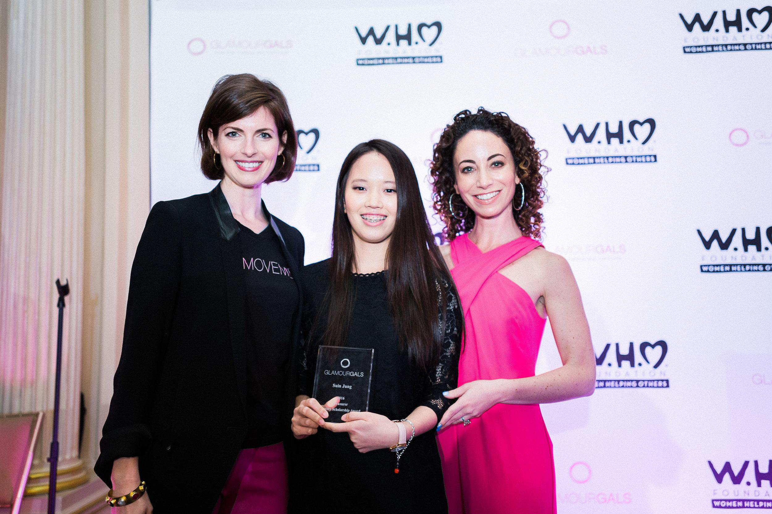 From left:Hot Pink Correspondent Cadden Jones with Suin Jung, a Glammy scholarship winner, and Allegra Cohen.