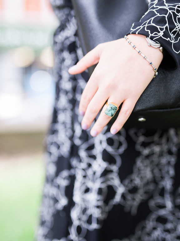 Farrah's Ringly ring, and her perfect lavender mani!
