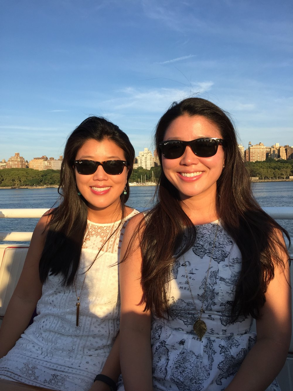 Mary (left) with her twin sister, Elizabeth, last month on a North River Lobster Company boat ride in NYC.