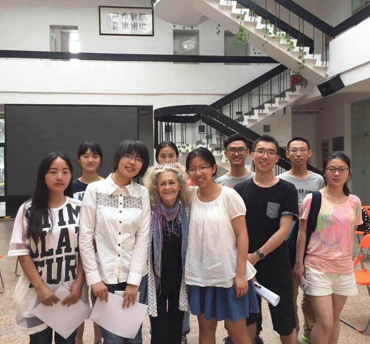 Anna and her students at a drama rehearsal at Tongji University in Shanghai,2015.