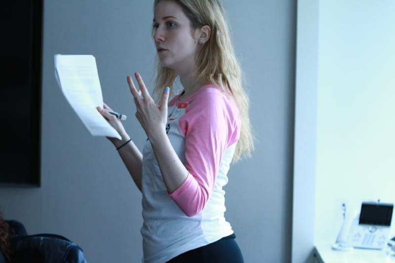 Natalia addressing her group at GLTI in 2018.