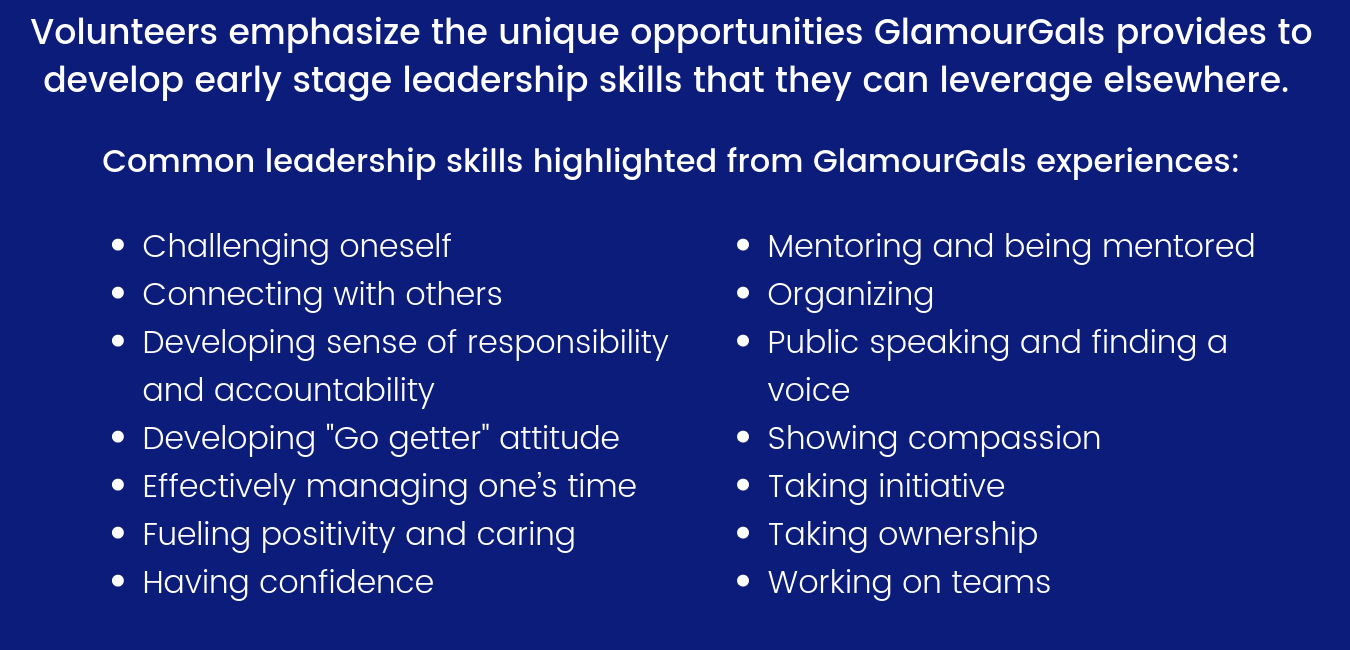 Volunteers emphasize the unique opportunities GlamourGals provides to develop early stage leadership skills that they can leverage elsewhere..png