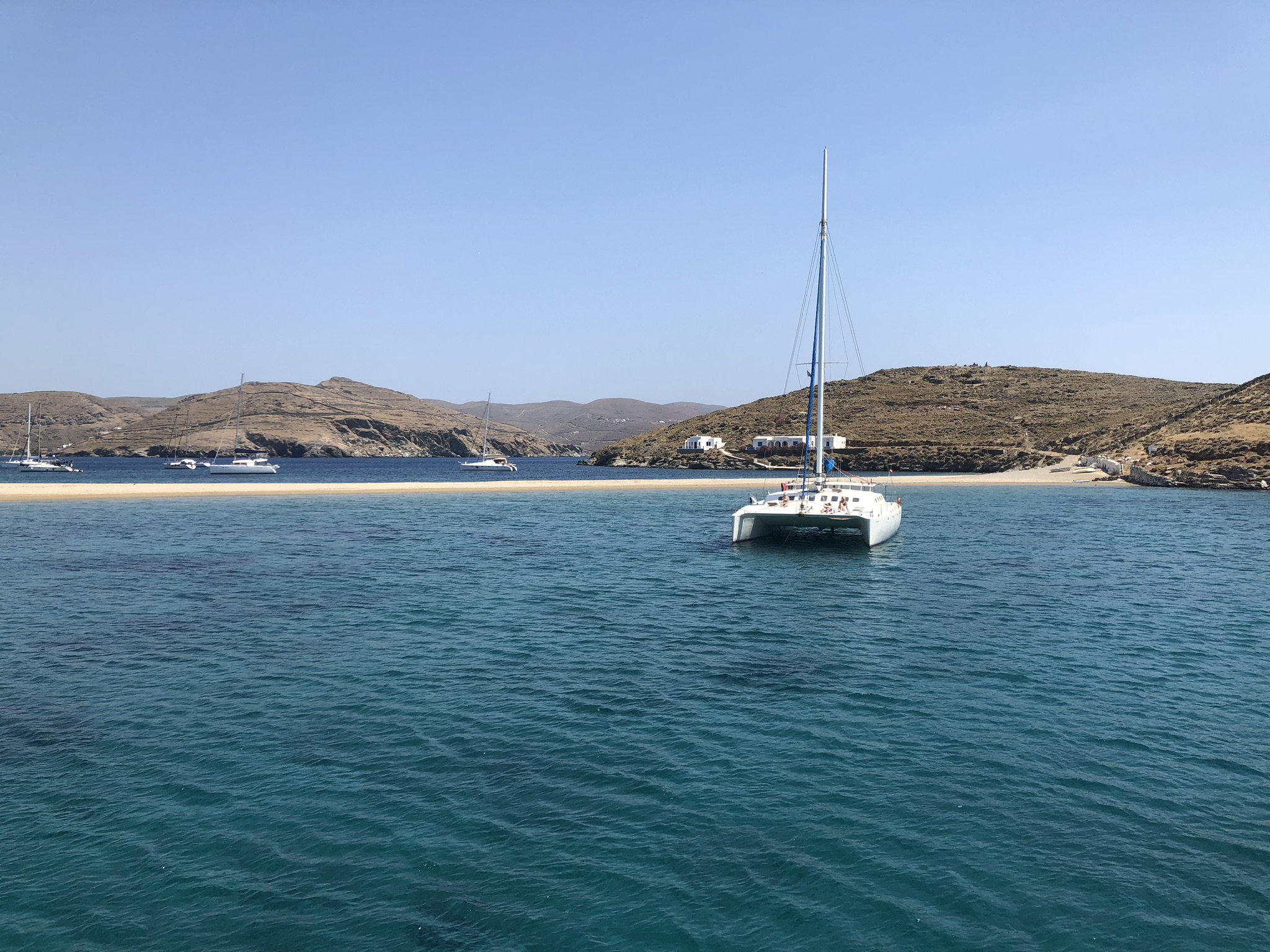 "Kythnos - or ""mirror island"" - was incredible. The sand bar stretches across the bay, dividing the marina into two sections. And leaving a nice beach to swim up to!"