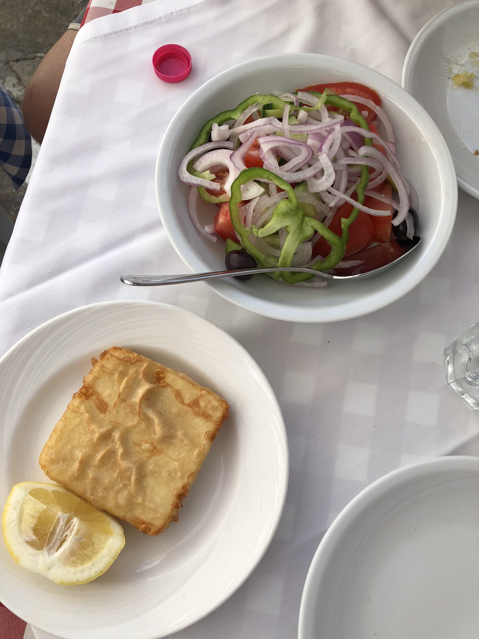 Traditional Greek salad and fried cheese (Saganaki)
