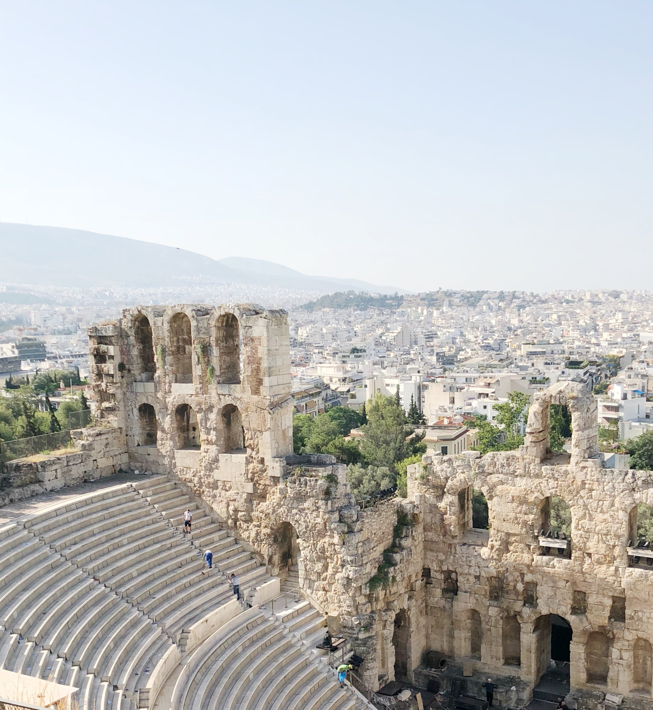 View from the top of the Herodes Theater. And a great view of Athens city.