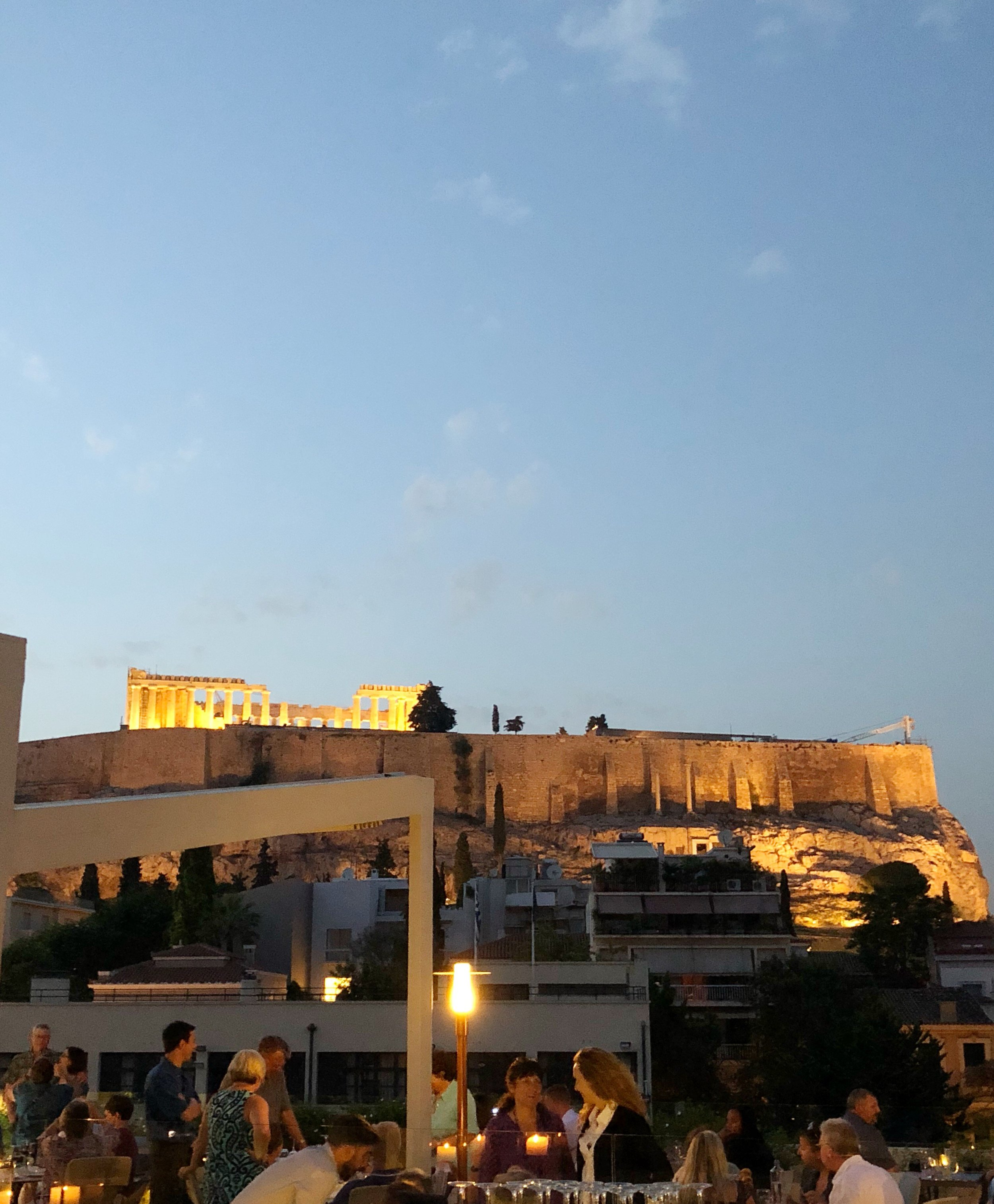 The lights on the Acropolis are STUNNING! View from Herodion Hotel.