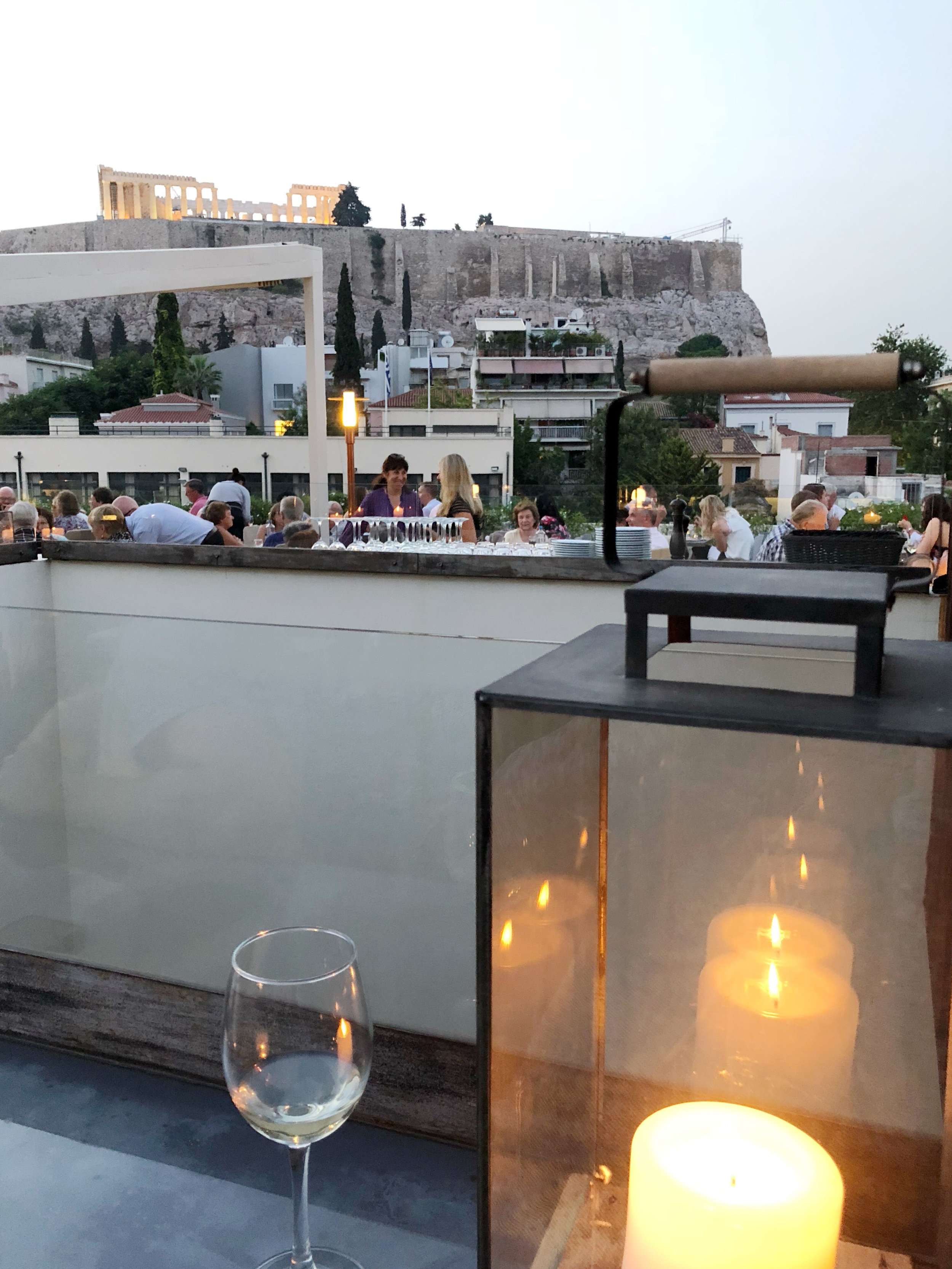 The Acropolis lit up at night - view from Herodion Hotel