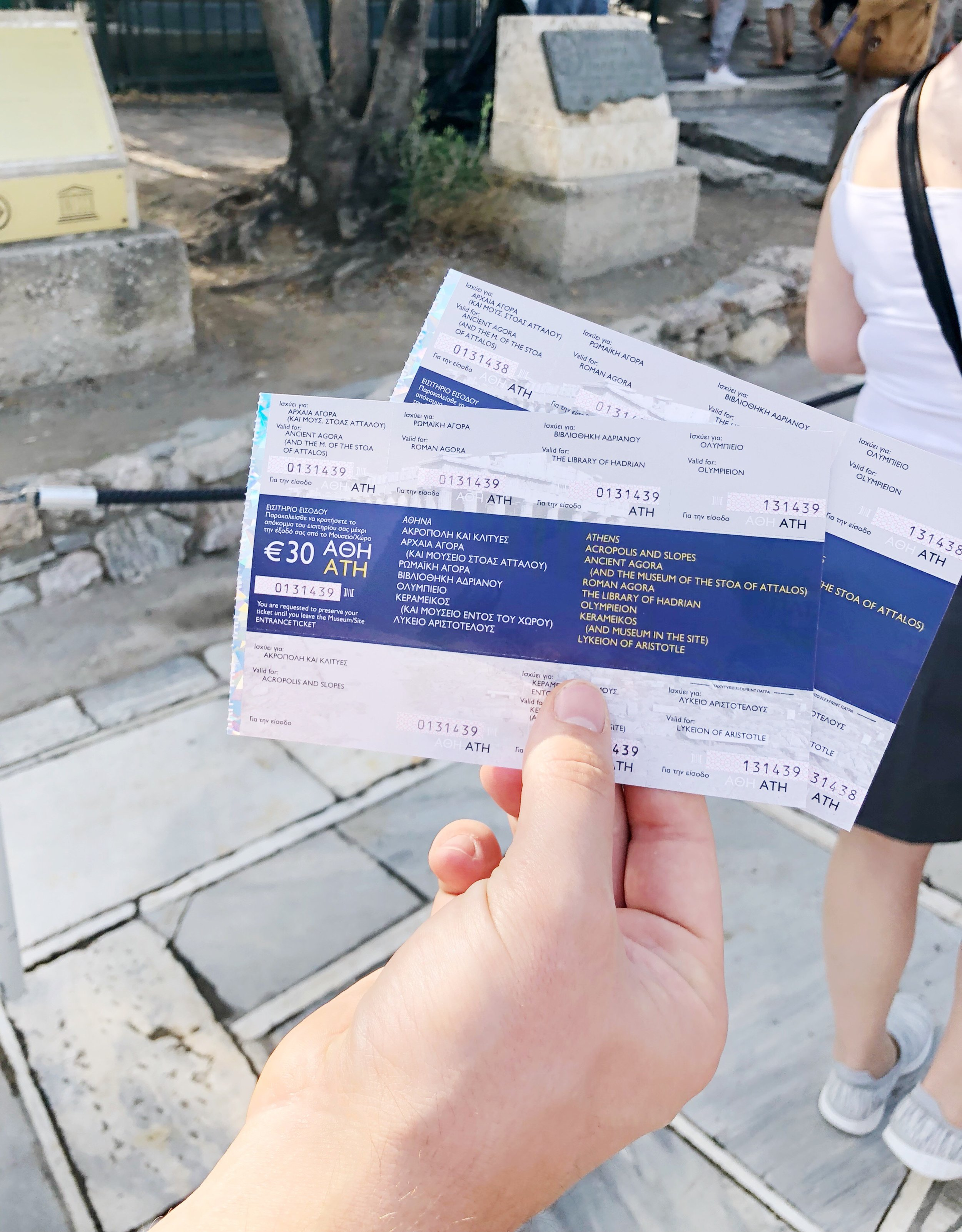 "Purchasing our ""Combo"" ticket for the Acropolis."