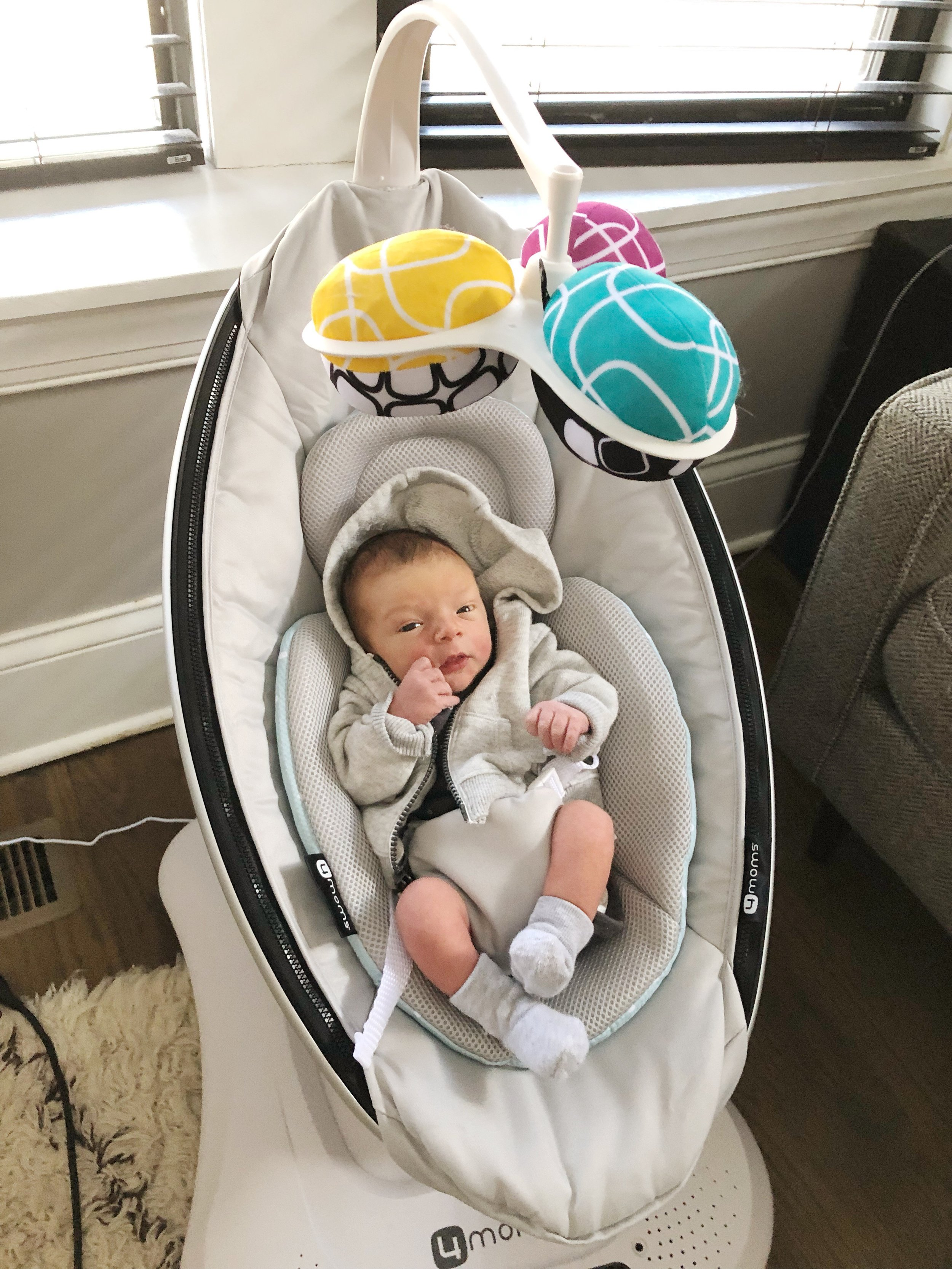 Using the MamaRoo at about 1 week old!