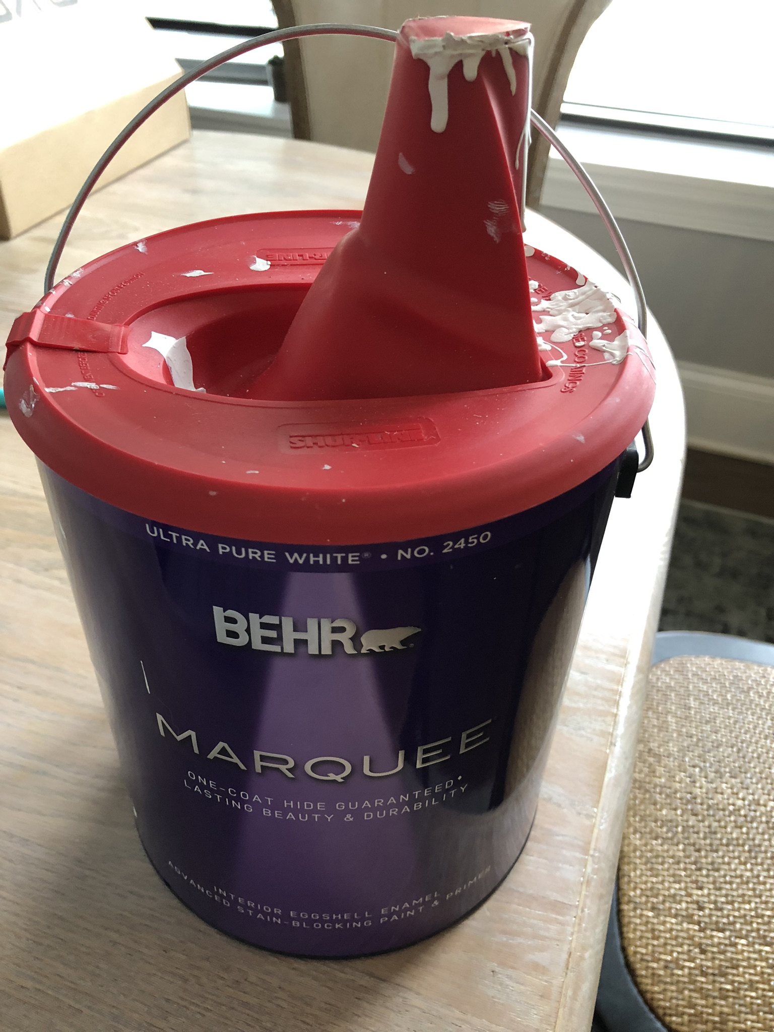 We used Behr Marquee Ultra Pure White paint color on our bathroom walls & in our nursery.
