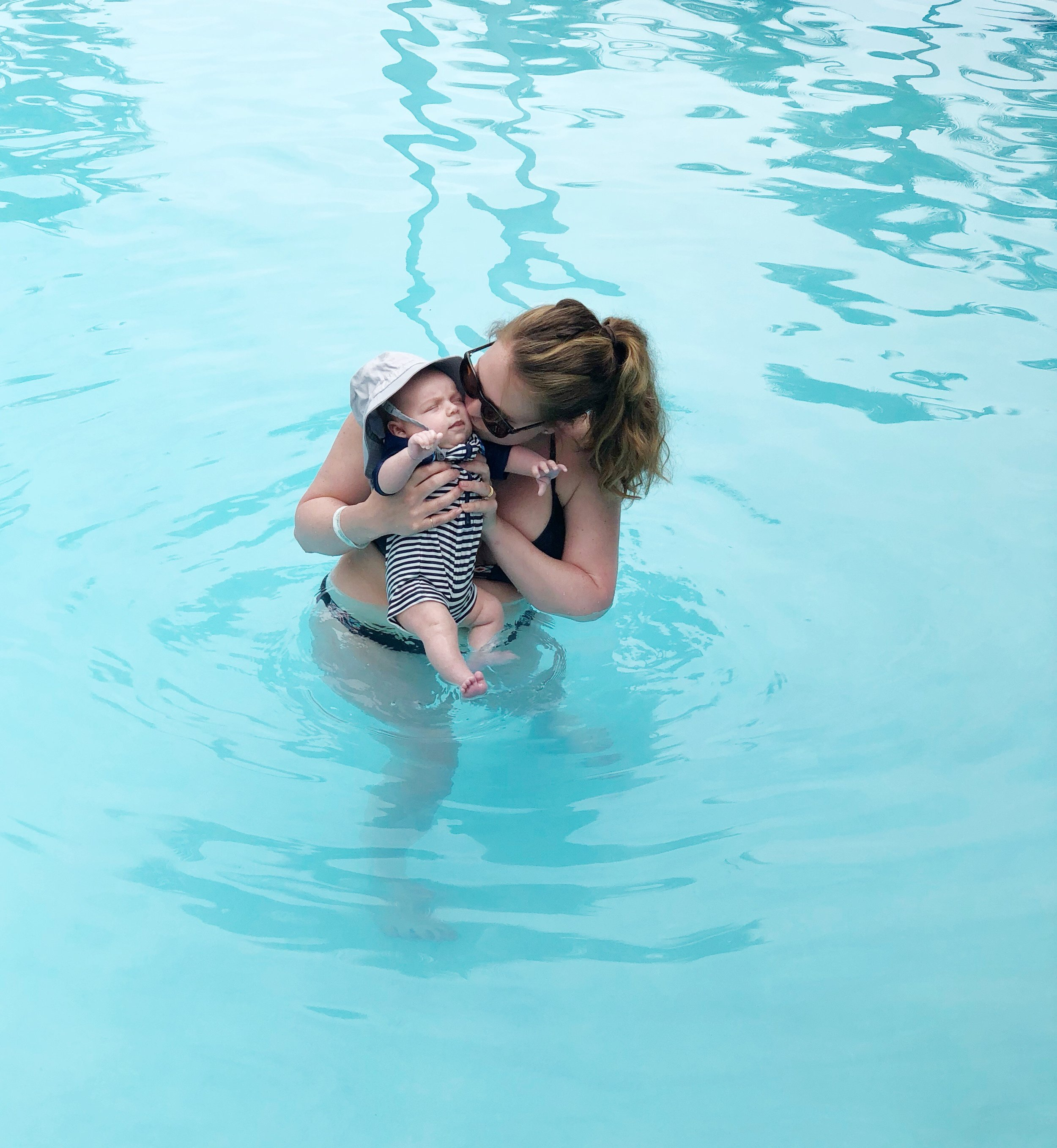 Remy's first swim! And me, bravely wearing a bikini (what was I thinking?!).