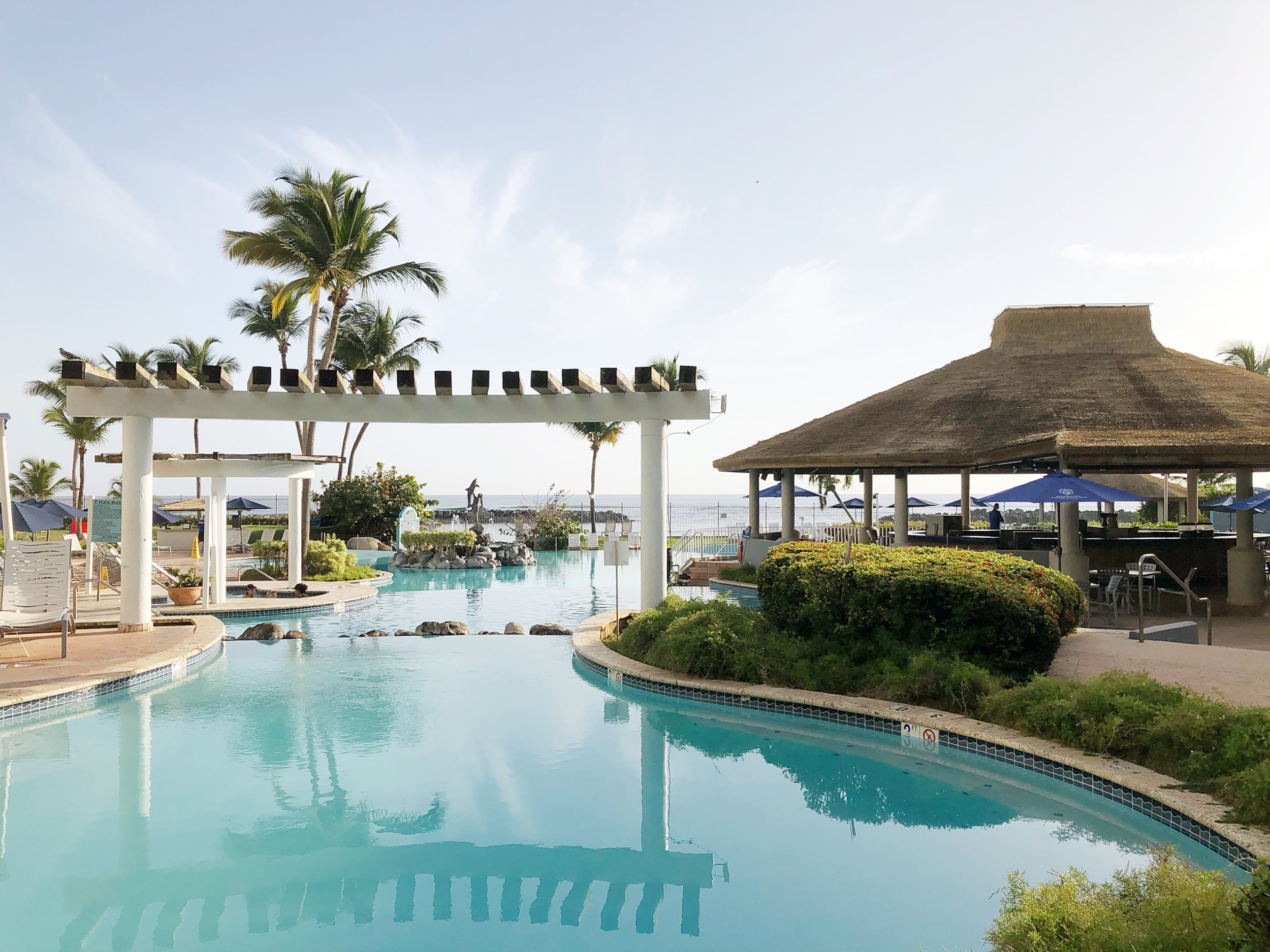 Our pool & beach set up at the Embassy Suites, Dorado Beach Puerto Rico!
