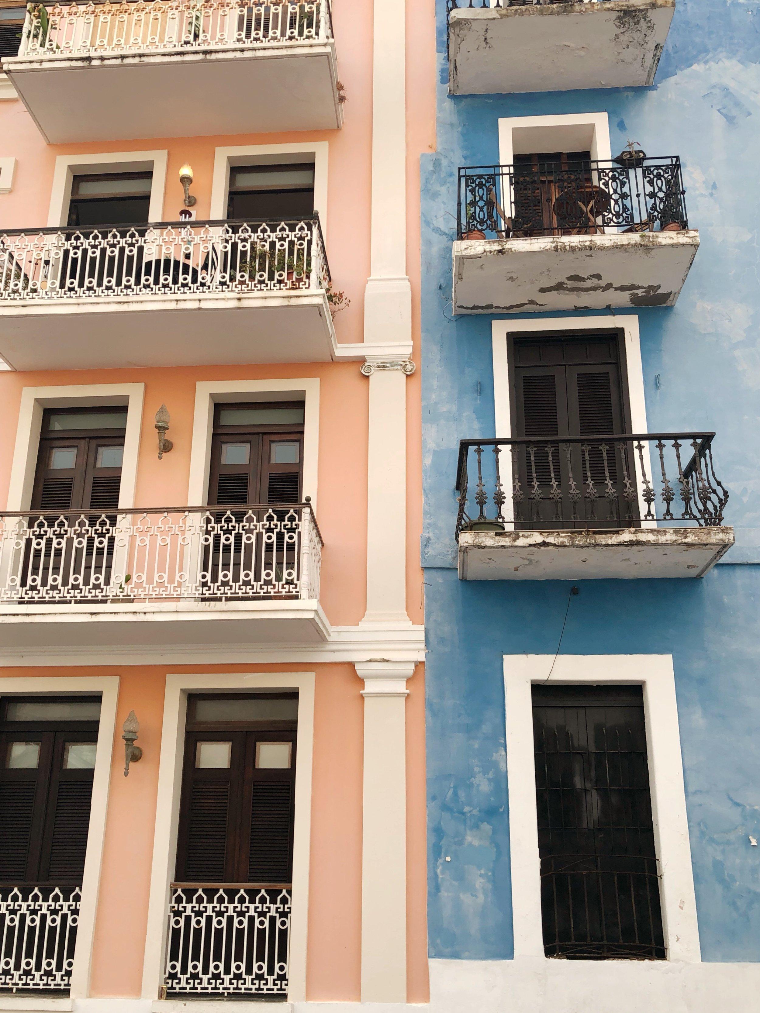 Admiring the buildings in Old San Juan.