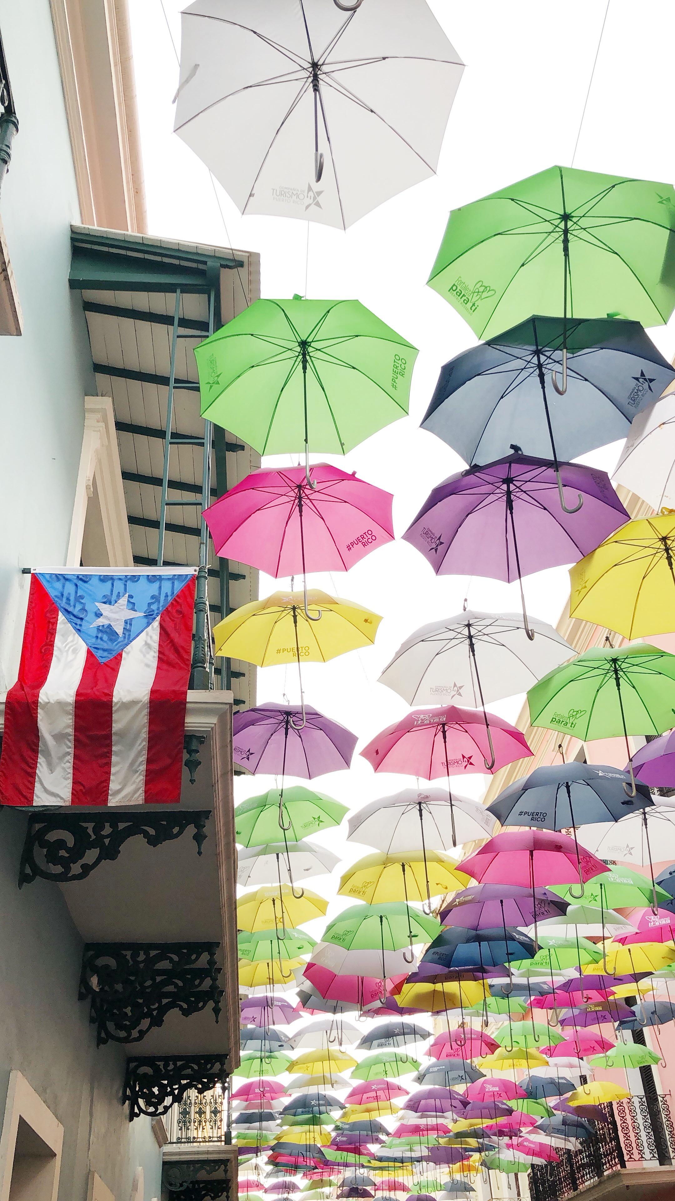 Umbrella Street (aka Fortaleza Street) in Old San Juan, Puerto Rico.