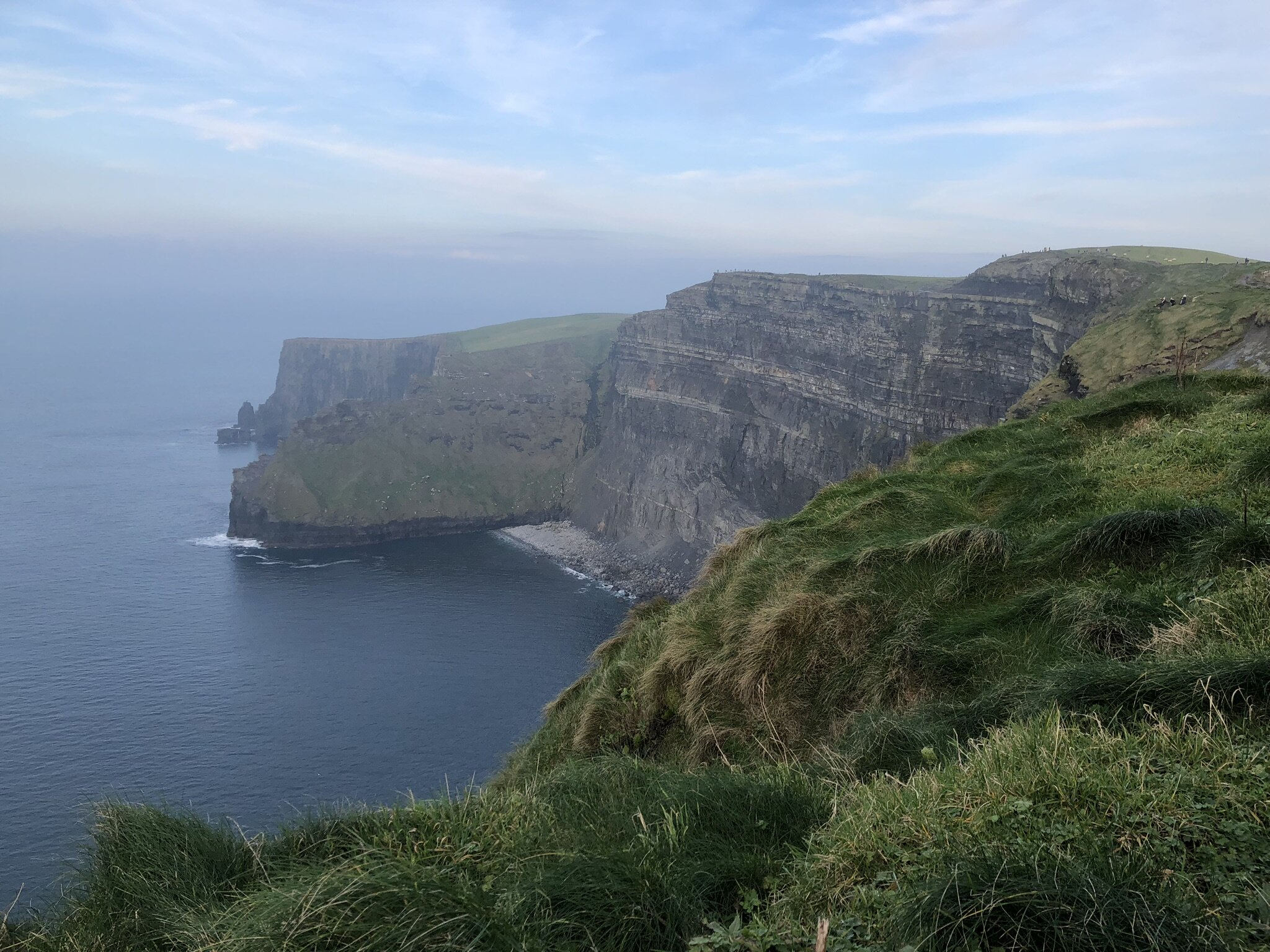 View from the hill top at the Cliffs of Moher.