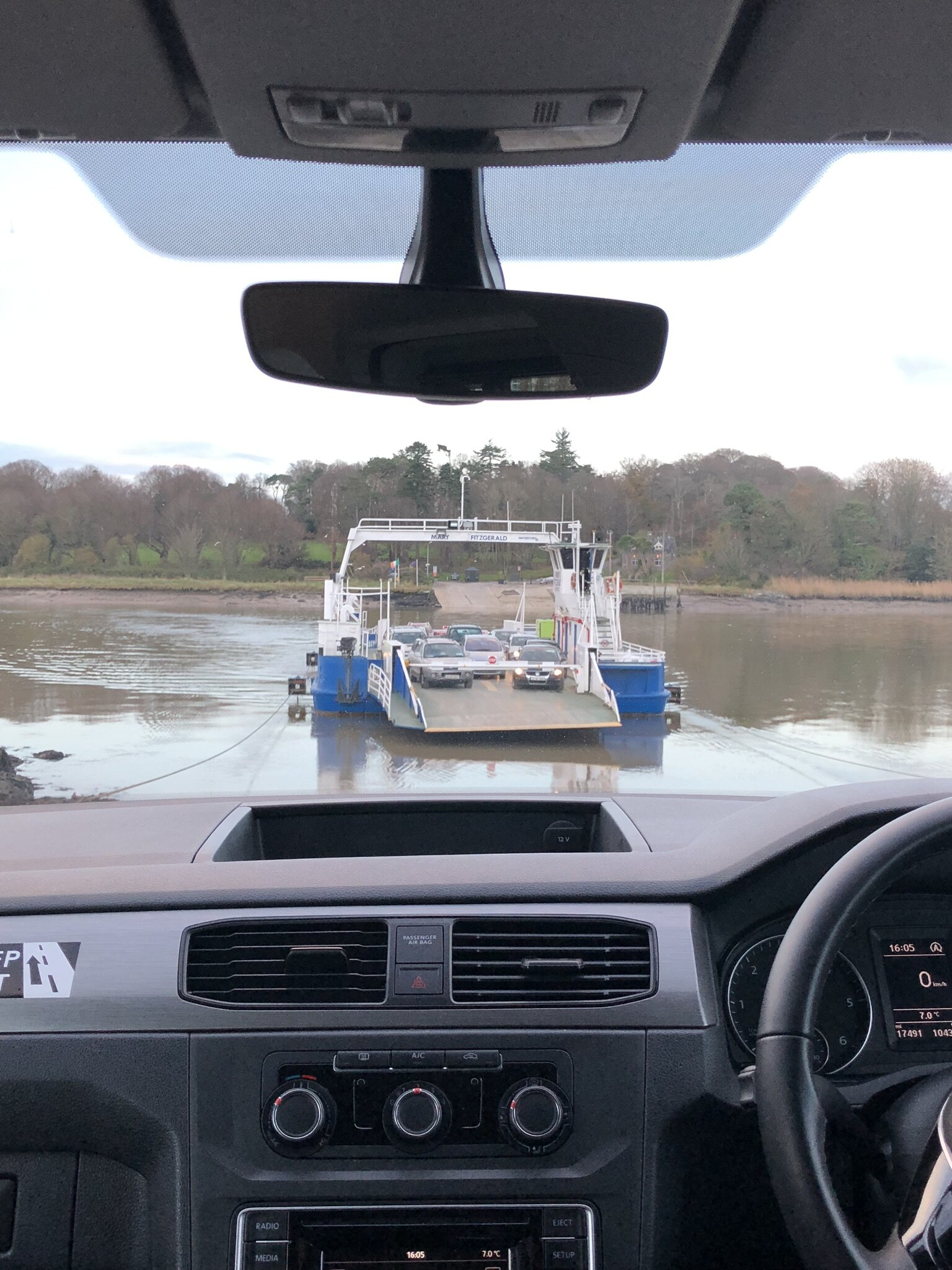 Here is the auto-ferry we took to the island where Waterford Castle is located.