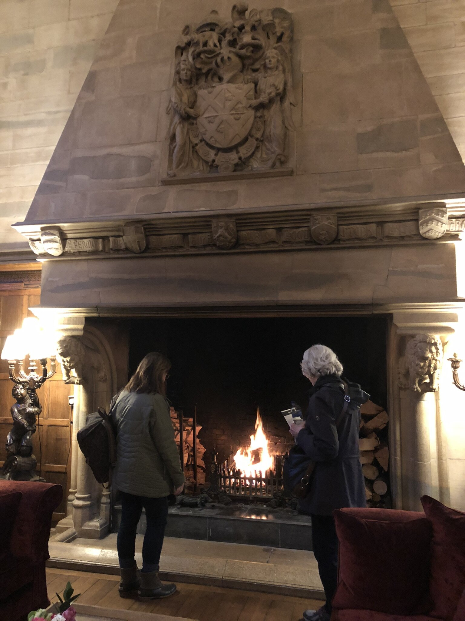 The massive and gorgeous fireplace in the Waterford Castle.