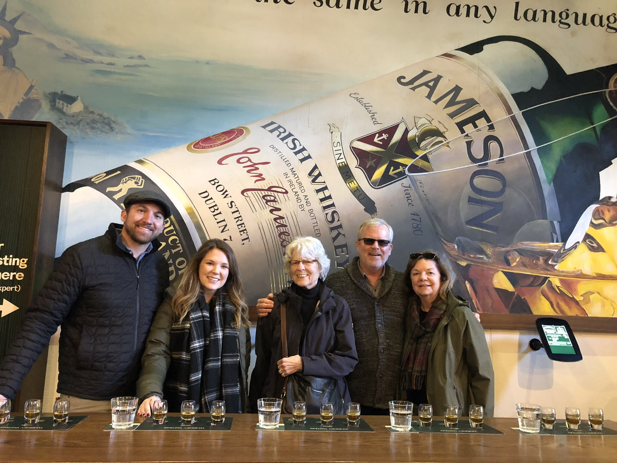 Whiskey tasting on the Jameson Distillery Tour in Midleton, Ireland.