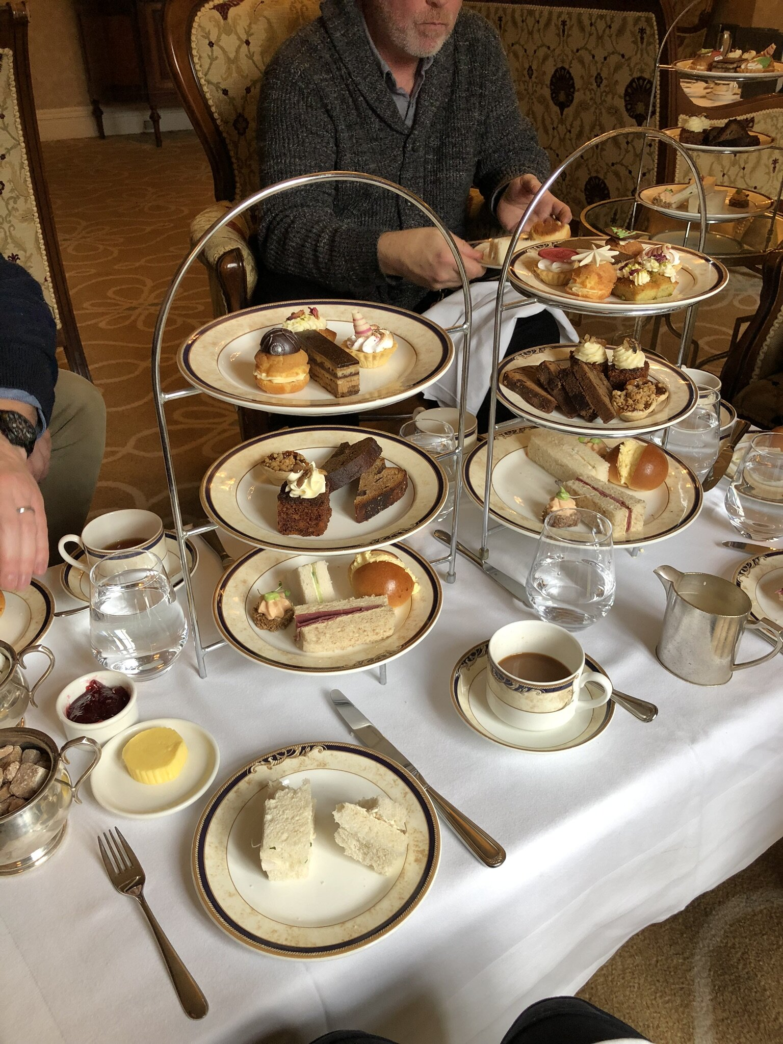 Afternoon Tea for five people at the Hayfield Manor in Cork, Ireland.