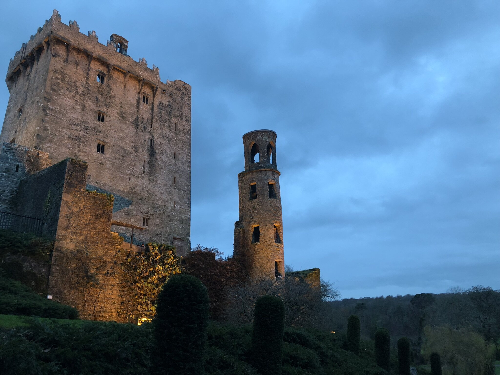 Blarney Castle at night in Cork, ireland.