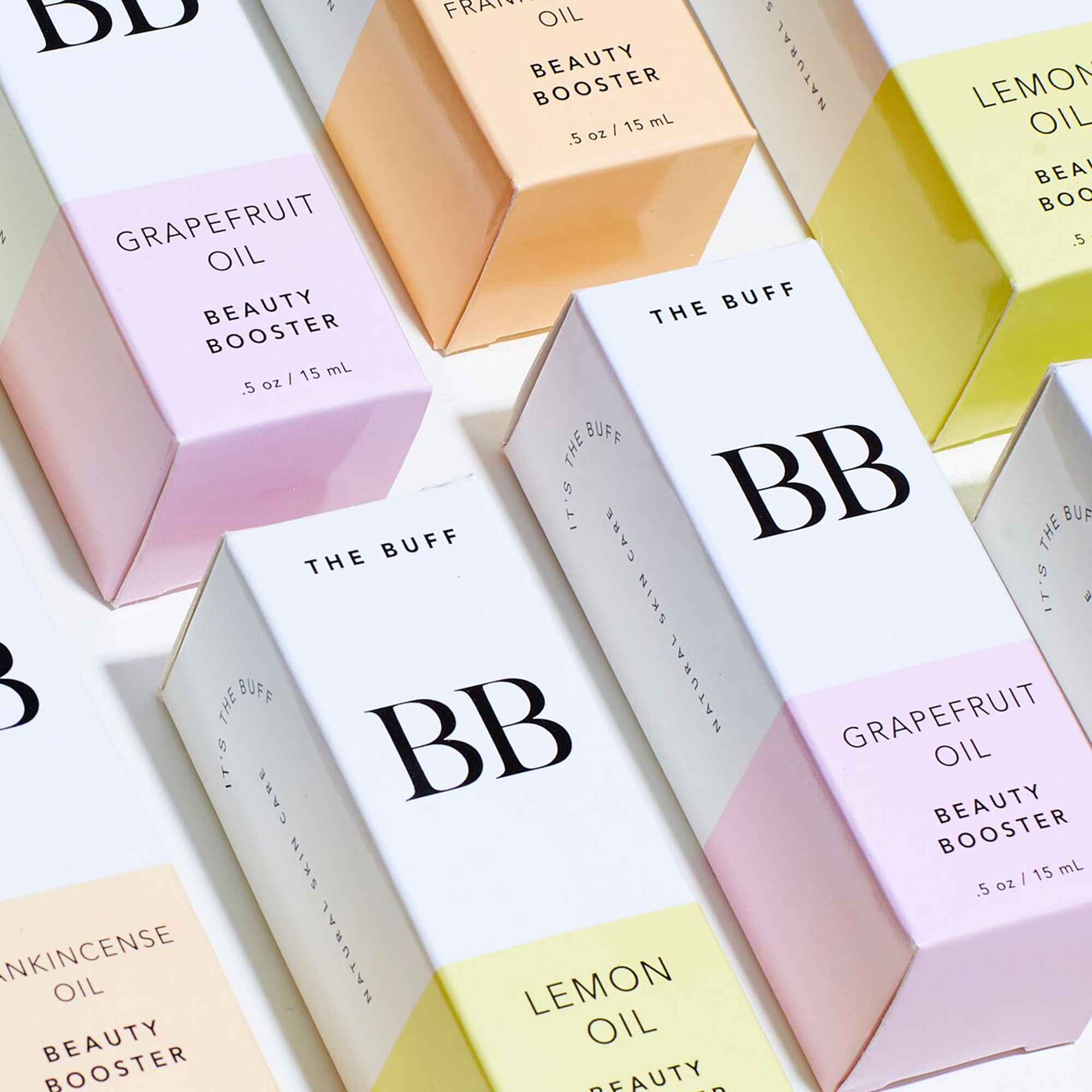 THE BUFF   Packaging & label design for natural skincare startup, THE BUFF. Featured in Vogue and Refinery29.