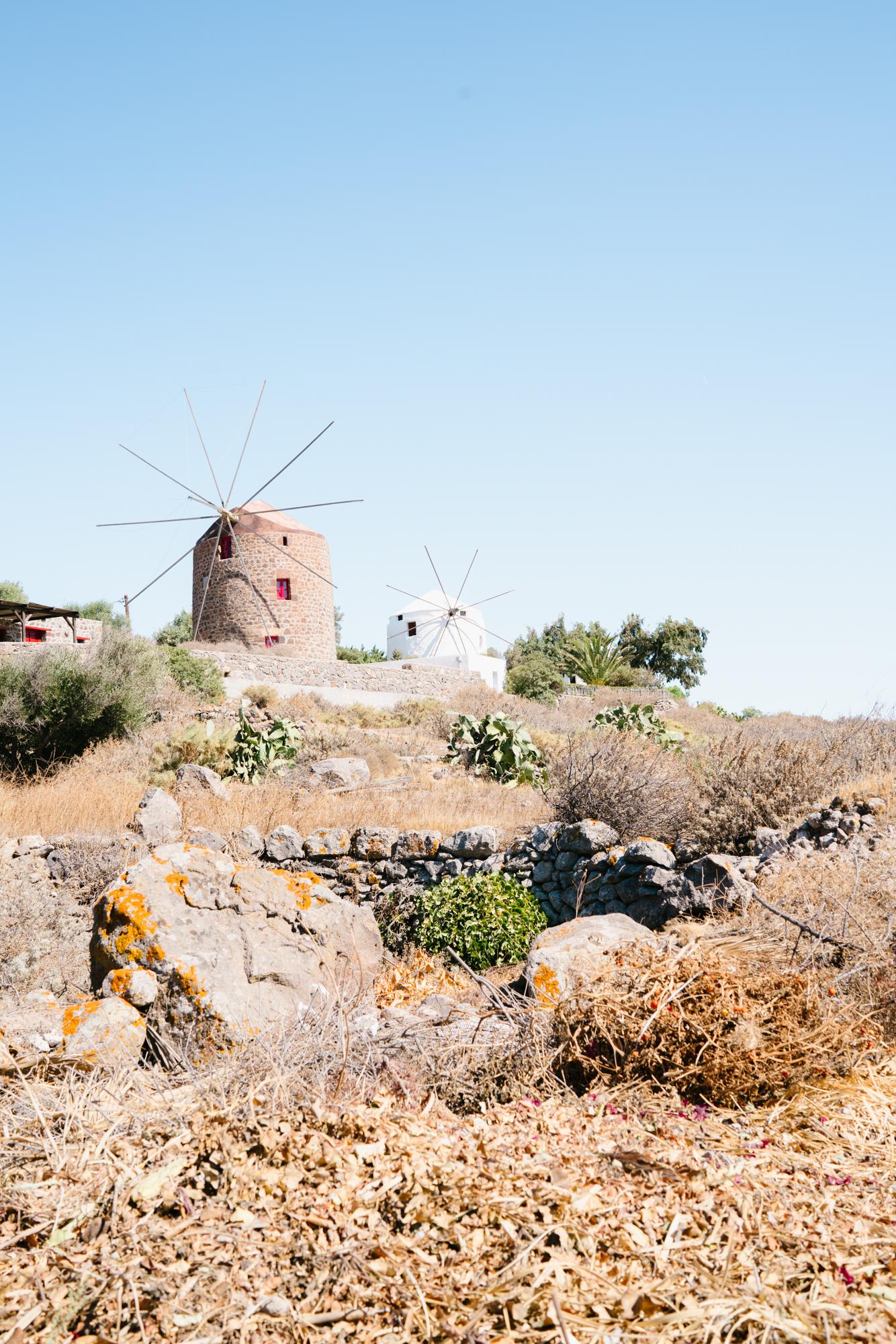 Windmills in Milos, Greece