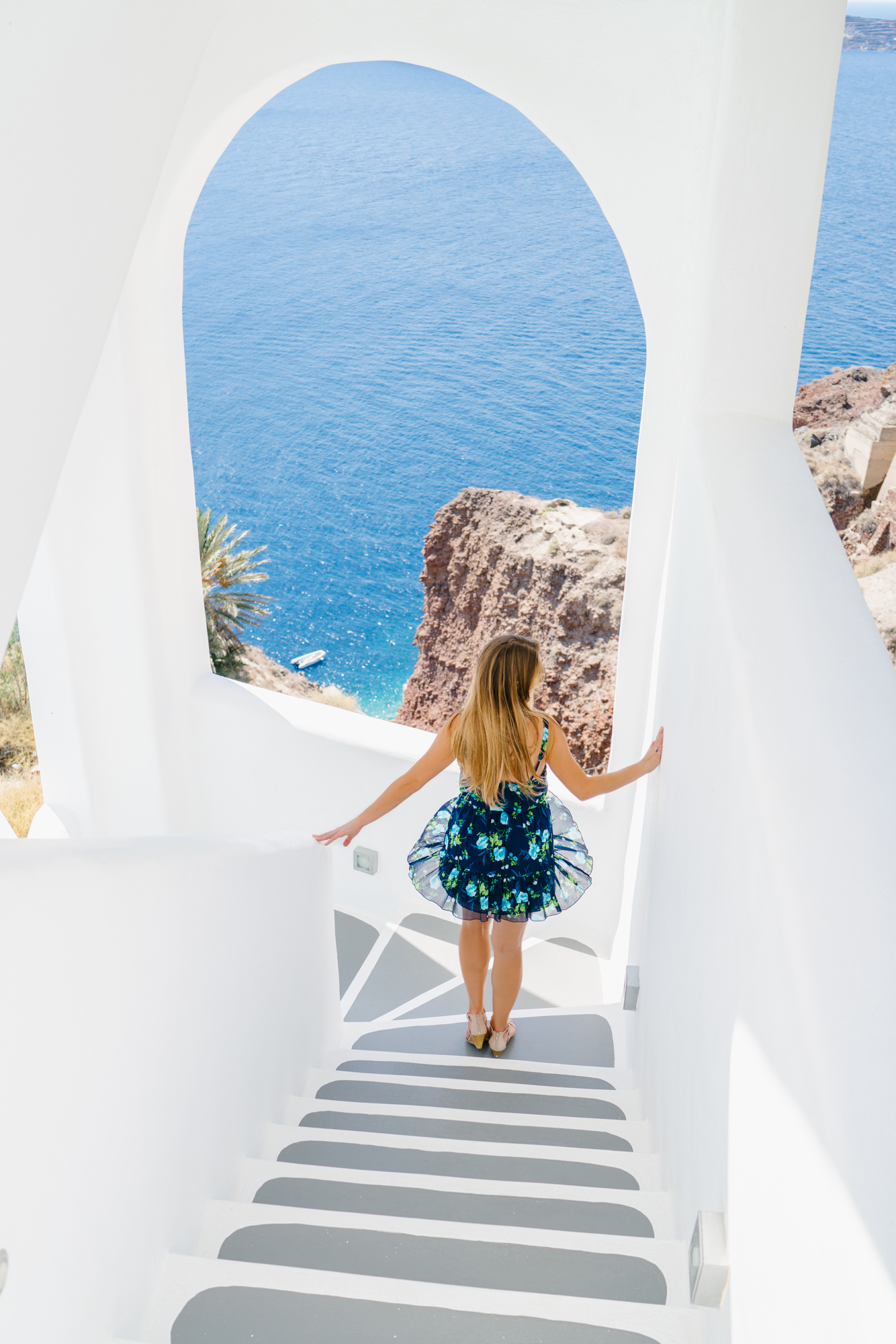 Blue floral dress in Santorini