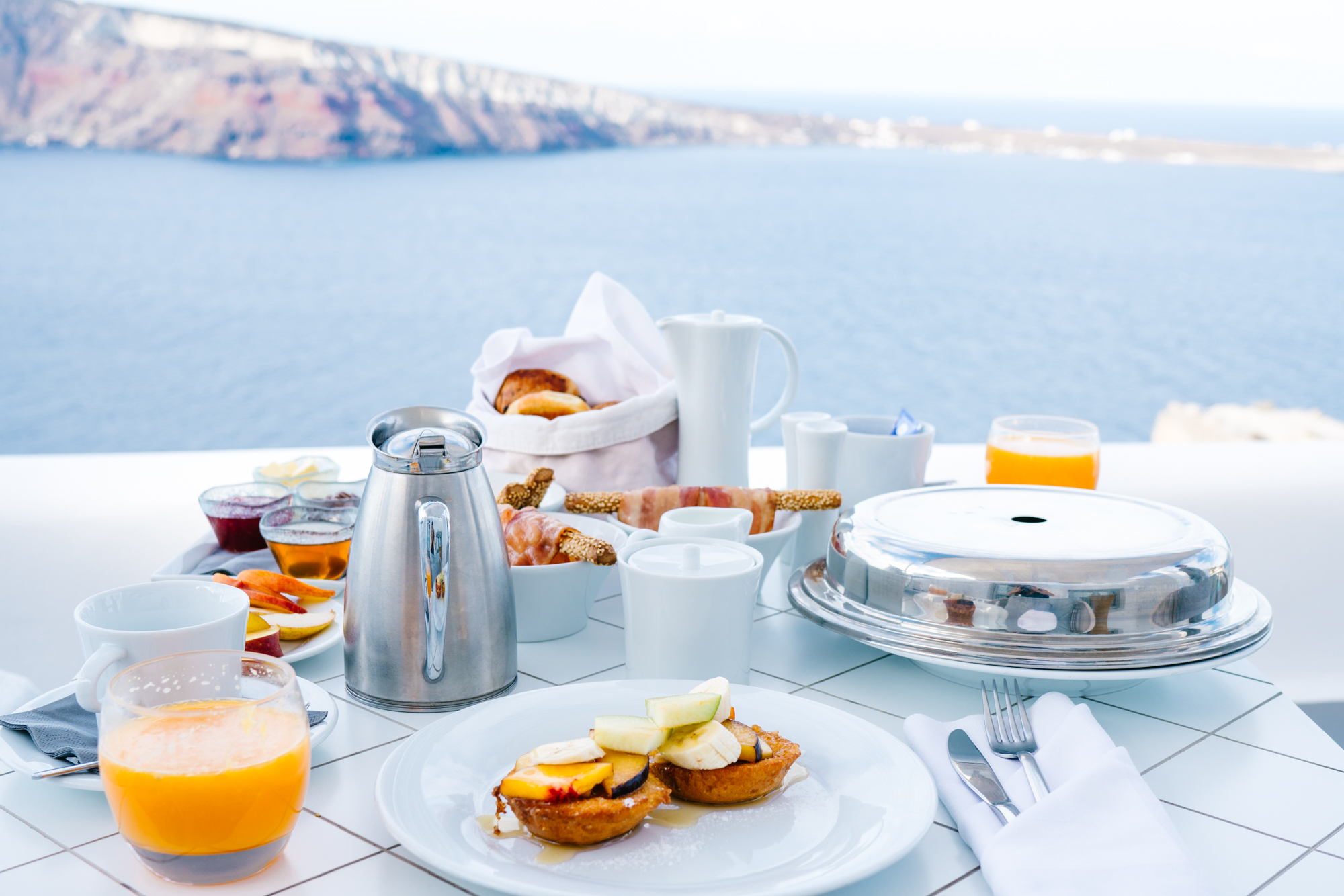 Breakfast with a view in Santorini, Greece