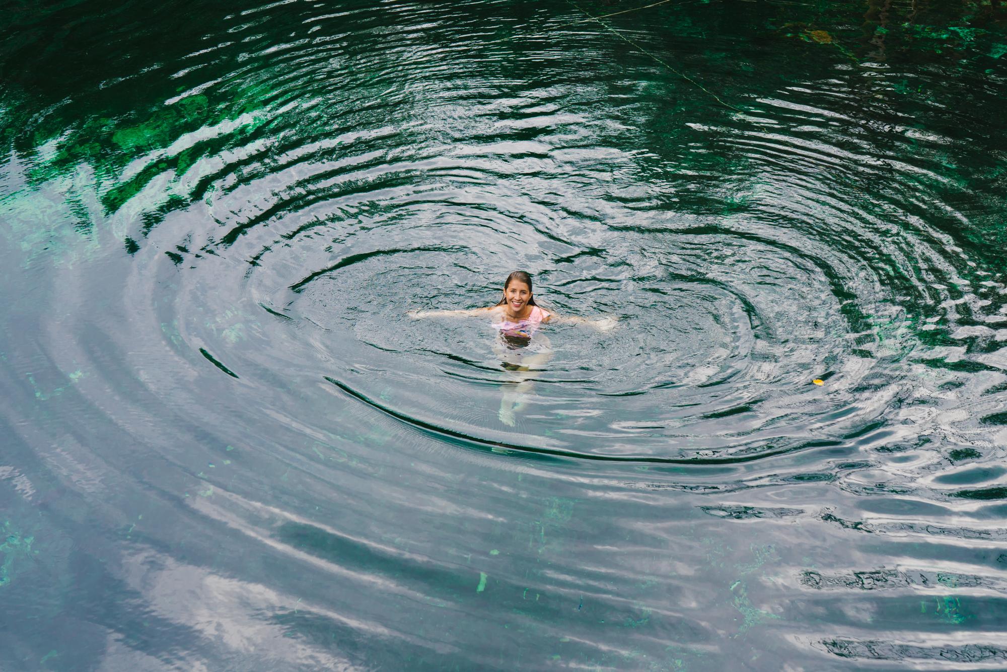 Swimming in Cenote Cristal