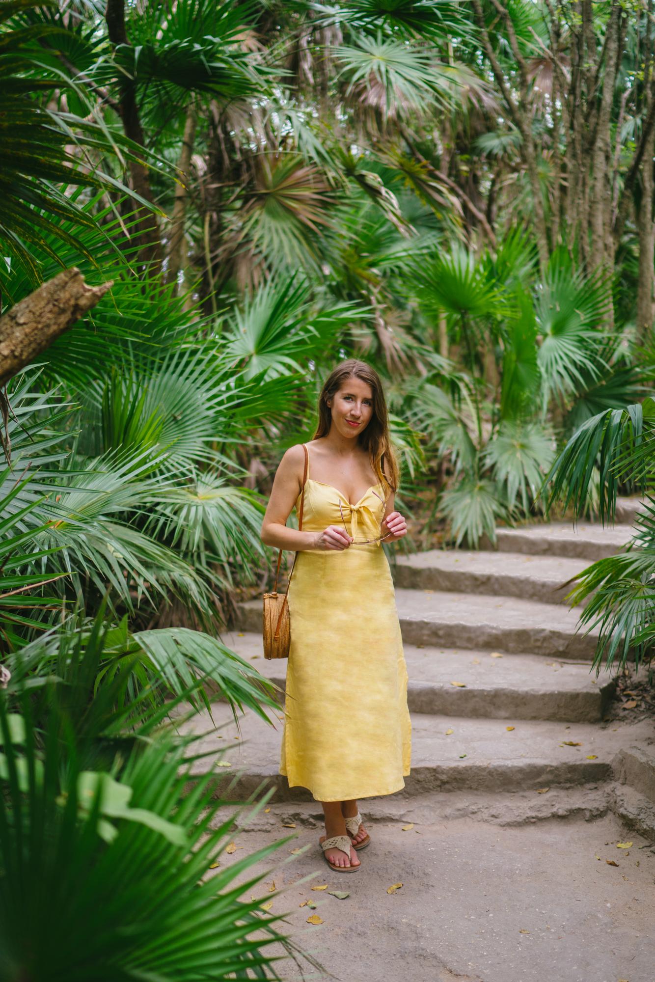 Faithfull the Brand yellow linen midi-dress