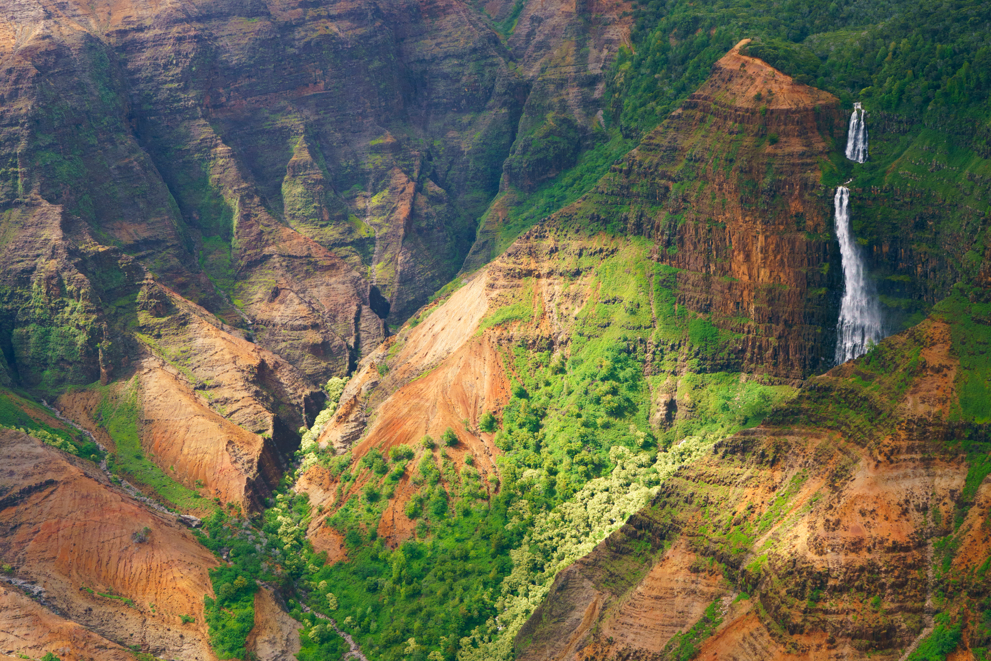 Aerial view of Waimea Canyon waterfall | Never Settle Travel