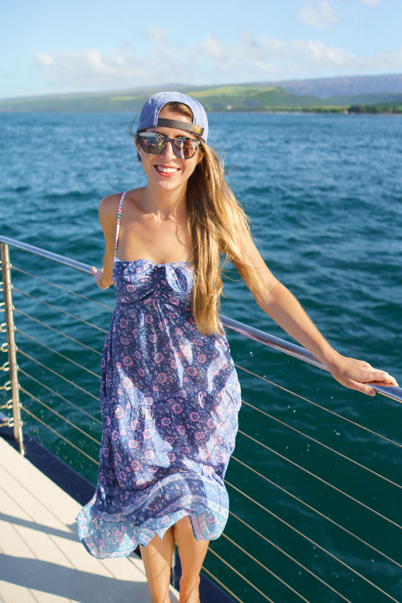 J.Crew strapless dress with mirrored sunglasses in Hawaii